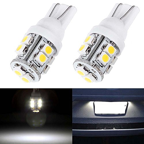 License Plate Lights,cciyu T10 168 194 2825 W5W 10 SMD White LED Car Interior Light Bulbs,2 Pack