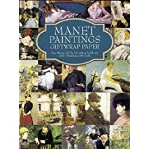 """Manet Paintings Giftwrap Paper: Two Sheets 18"""" x 24"""" (46cm x 61cm) with 3 Matching Gift Cards"""