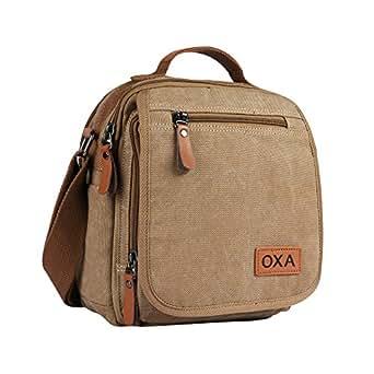 OXA Canvas Messenger Bag Shoulder Bag Crossbody Bag Satchel Bag Travel Bag Hiking Bag School Bag ipad Bag Fanny Bag Daypack Khaki