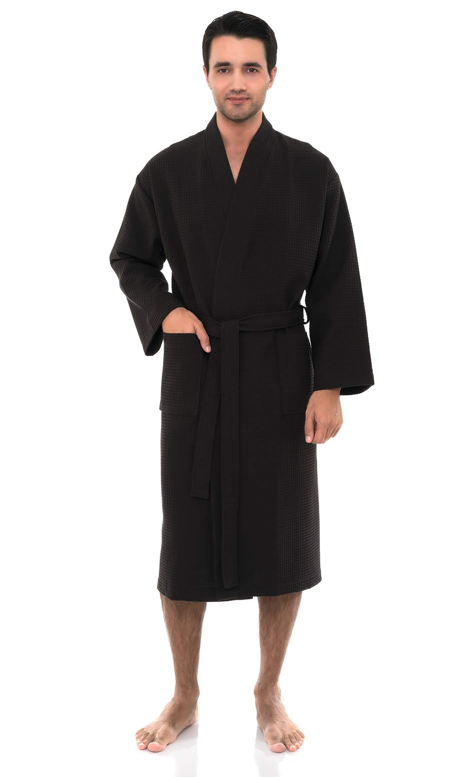 TowelSelections Men's Waffle Bathrobe Turkish Cotton Kimono Robe X-Small/Small Jet Black