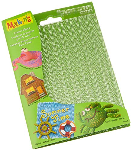Makin's USA M380-1 Clay Texture Sheets, 7-Inch by 5-1/2-Inch, Cobblestone/Brick/Wave/Sand, 4 Per Package (Press Fondant Brick)