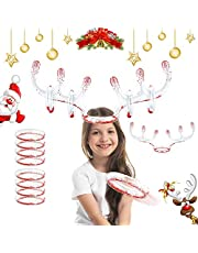 2 Set Christmas Inflatable Reindeer Antler Game Toss Game Christmas Party Games for Kids Adults Family Christmas Party Accessories (2 Antlers 8 Rings 1 Pump)