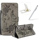 Strap Case for iPhone XR,Flip Wallet Leather Cover for iPhone XR,Herzzer Premium Pretty Elegant [Grey Butterfly Flower Design] PU Leather Fold Stand Card Holders Smart Case Cover for iPhone XR + 1 x Free White Cellphone Kickstand + 1 x Free Silver Stylus Pen