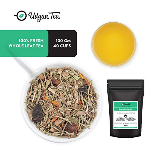Udyan Icy Rosemary Tisane, 3.5 oz (40 cups) | Caffeine Free Herbal Tea Tisane | Rosemary, Sea Buckthorn, Star Anise, Stevia, Safflower | Hot or Iced Tea | Loose Leaf in Resealable Vacuum Pouch