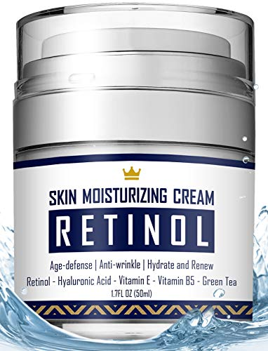 Retinol Cream - Anti Aging Face Cream with Hyaluronic Acid, Vitamin E & B5, Jojoba Oil, Green Tea and Gotu Kola Extract -  Fights Appearance of Wrinkles, Fine Lines - Night and Day Moisturizer