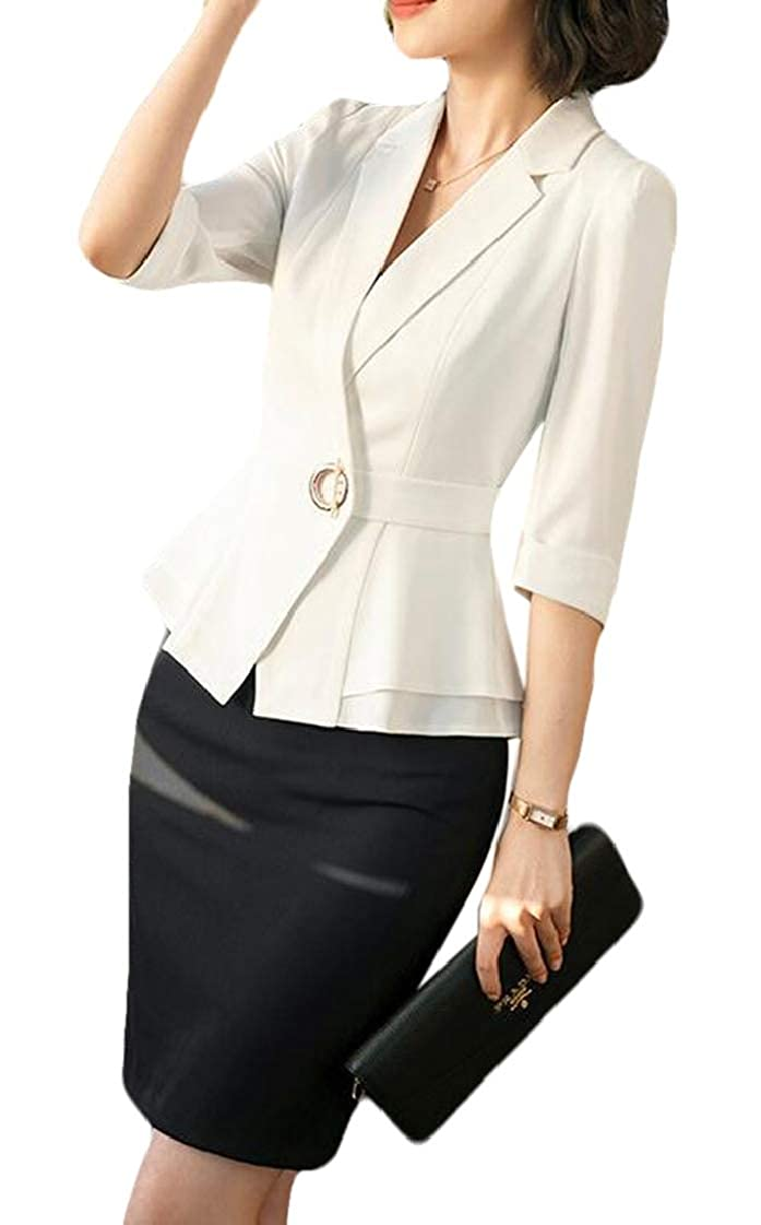 2 pipigo Womens 2 Piece Outfits Slim Fit OL Work Skirt Blazer Suits Sets Outfits