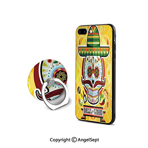 Protector for iPhone 7/8 with 360°Degree Swivel Ring,Mexican Sugar Skull with Tacos and Chili Pepper November 2nd Colorful Art,Durable Soft Touching,Yellow