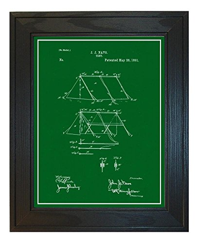 Tent Patent Art Green Print with a Border in a Solid Pine Wo