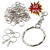 MOHOO 50pcs Keyring Keychain Tone Key chains Key Split Rings 55mm Silver with Cable organizer