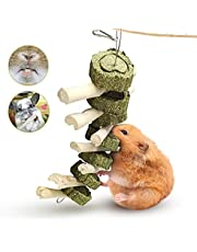 Bunny Chew Toys, Rabbit Toys for Teeth Molar Improve Dental Health 100% Natural Organic Wood Apple Sticks with Grass Balls for Rabbits, Chinchillas, Guinea Pigs, Hamsters, Chewing & Playing (A1)
