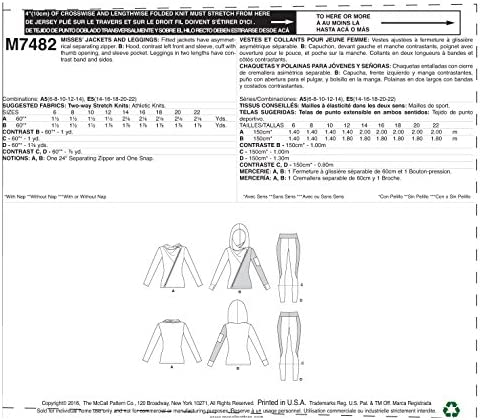 NEW McCall/'s Sewing Pattern M7482 Misses Leggins w// Fitted Jackets