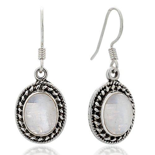Vintage Earrings Moonstone (925 Oxidized Sterling Silver Moonstone Gemstone Oval Rope Edge Vintage Dangle Hook Earrings 1.3