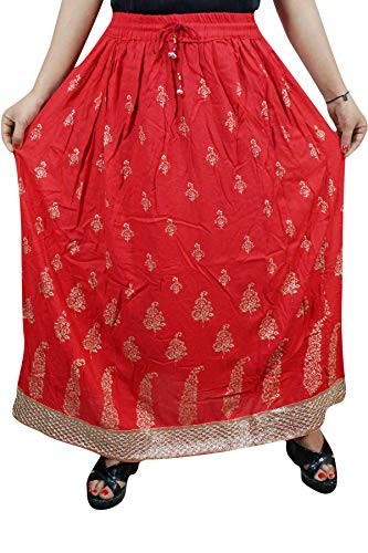 Women's Red Maxi Skirt Crinkled Printed Golden Bootis with Lace Bohemian Skirt L