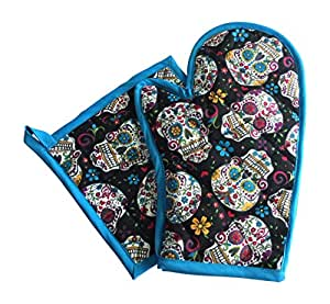 Jumpsies Sugar Skull Pot Holder Set of 2 (blue)