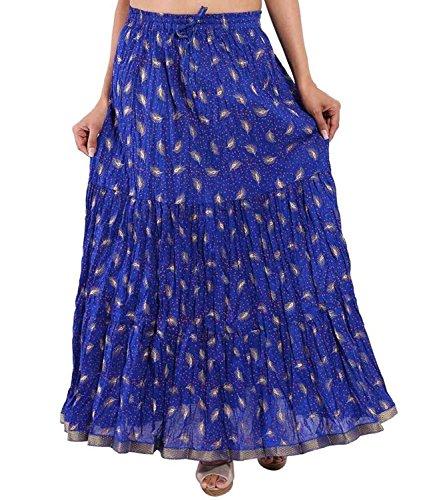 Indian Handicrfats Export Cotton Gold Printed Tired Design Long Skirt for Women