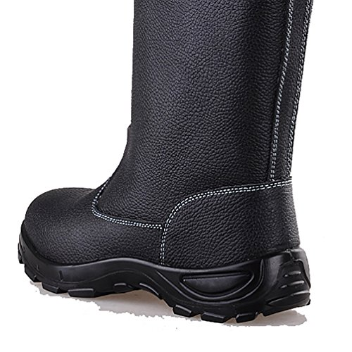 NiSeng Mens Faux Leather Safety Boots Winter Snow Boots Waterproof Work Boots with Steel Toe Composite Black CCzOgasgEE