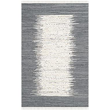 Safavieh Montauk Collection MTK711G Hand Woven Ivory and Grey Cotton Area Rug, 6 feet by 9 feet (6' x 9')