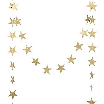 DoTech Oro Espumoso Guirnalda de Estrellas de papel, Little estrellas guirnalda de papel decoracion para