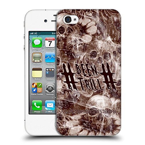 Official Been Trill Sepia Floral And Skulls Hard Back Case for Apple iPhone 4 / 4S