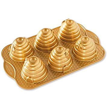 Nordic Ware 90777 Beehive Cakelets Pan, One, Gold