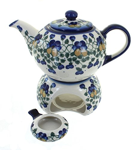 Blue Rose Polish Pottery Pansies Teapot with Warmer & Candle Holder