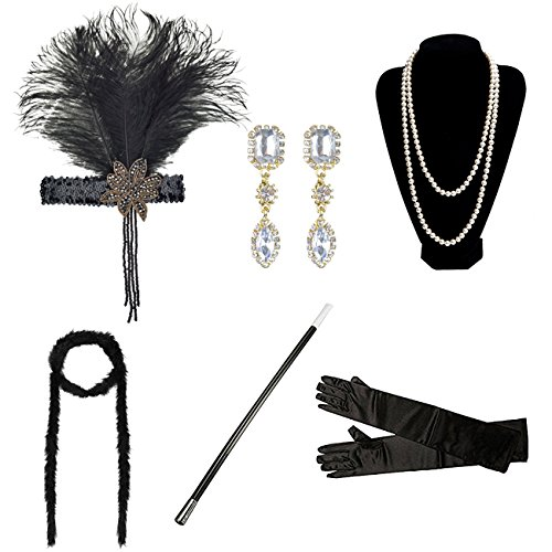 DRESHOW 1920s Flapper Gatsby Costume Accessories Set Vintage