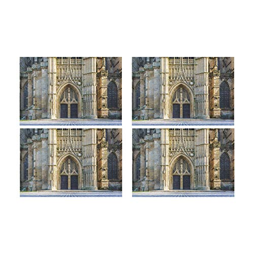 Yagqiny 4 Placemats Non-Slip Romance Gothic Architecture Church Table Mats Table Restaurant Office for Women Insulation Cup Place Mat Kitchen 12