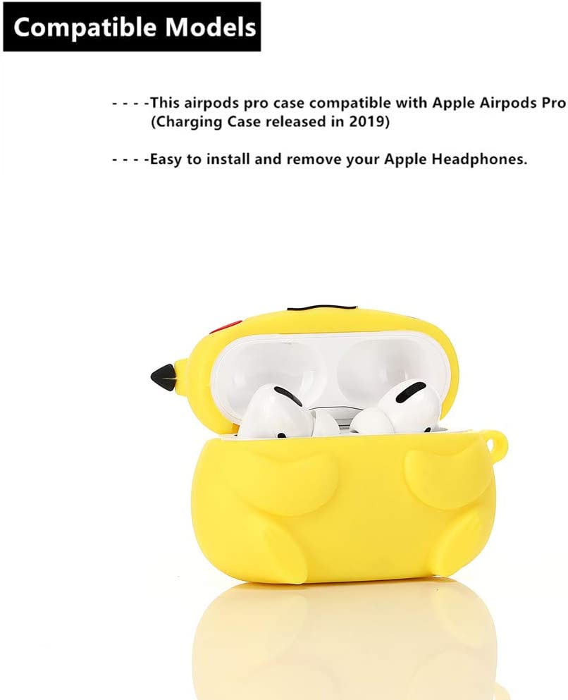 ZAHIUS Airpods Pro Silicone Case Funny Cover Compatible for Apple Airpods Pro 3D Cartoon Pikachu Pattern Designed for Kids Girl and Boys