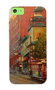 68dbfcc282 Tough Iphone 5c Case Cover/ Case For Iphone 5c(painting Paintings Roads City Cities Cars Trains ) / New Year's Day's Gift