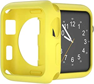 U191U Compatible with Apple Watch Case 38mm 42mm 40mm 44mm, Soft TPU Protective Bumper Cover for iwatch Series 5 4 3 2 Case (Yellow, 40mm)