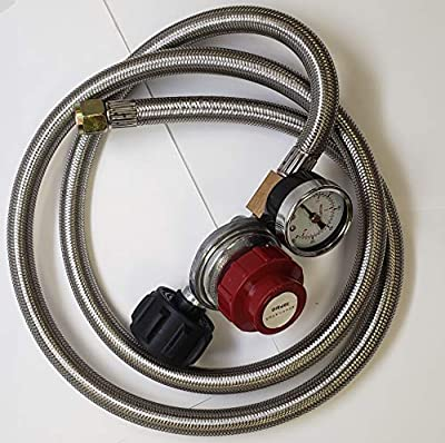 Adjustable Propane Regulator 0-30PSI High Pressure 5 FEET SS Braided Hose-Type1 (QCC1) and 3/8 Female Flare Swivel Fitting - with Gauge for Forge/Foundry, Food Truck, Fryer, Grill, Smoker, Gas Stove