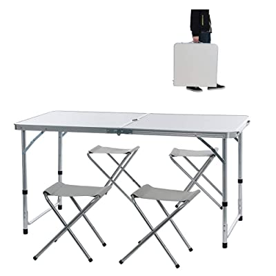 Wotryit 4-Person Folding Picnic Table with 4 Chairs, Height Adjustable,Portable and Lightweight, for Outdoor,Camping,Picnic,BBQ,Party and Dining (47×24×22-28inch): Kitchen & Dining