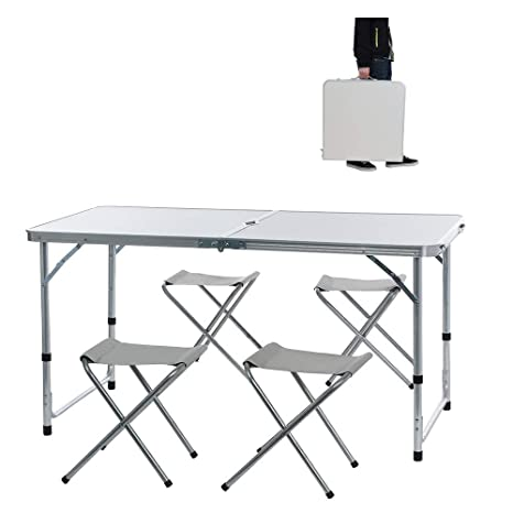 Adjustable Height Portable Family Picnic Table Folding Camping Table w 4 Chairs