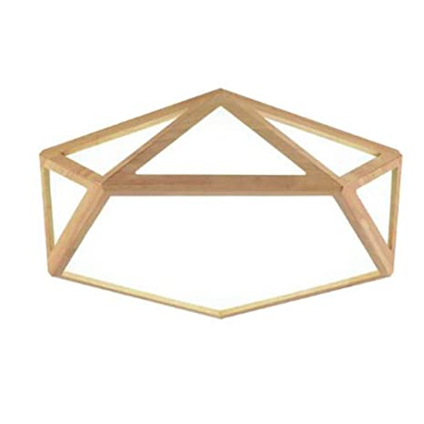 newest collection c546b 31883 CUICAN Wood Flush Mount Hexagon Ceiling Light, LED 24w ...