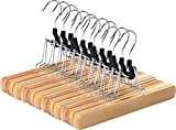 Utopia Home Non-Slip Wooden Hanger - Slack Hanger - Wood Skirt Hangers - Pack of 12 - Natural Finish