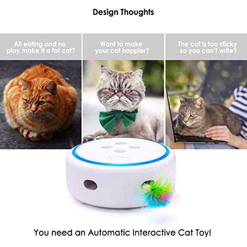 PETBIA Interactive Cat Toy, Electronic Automatic Cat Toys with Random Rotating Feather Pop and Play for Cats (15 Minutes Auto-Shut Off/Continuous Plays Available) - White