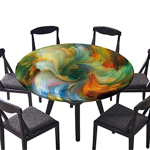 Premium Round Tablecloth Colors in Bloom Series Composition of Fractal Color Textures Everyday Use 55