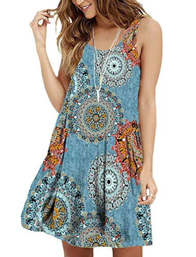 - Viishow Women's Sleeveless Floral Print Summer Loose Casual Mini Tank Dress(Floral Mix Blue XL)