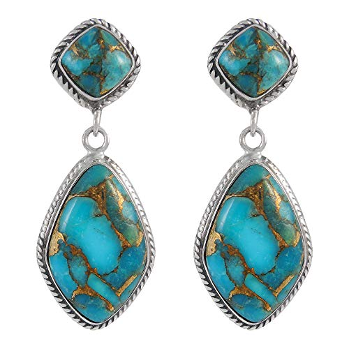 Turquoise Earrings 925 Sterling Silver & Genuine Turquoise (Teal/Matrix Turquoise) ()