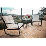 suncrown outdoor 3piece rocking wicker bistro set black wicker furniture two chairs with glass coffee table white cushion