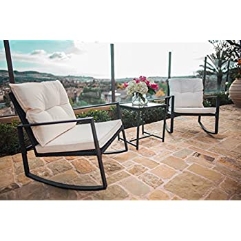 Suncrown Outdoor 3 Piece Rocking Wicker Bistro Set: Black Wicker Furniture    Two Chairs