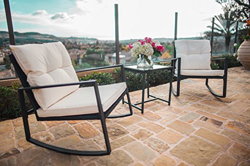 Suncrown Outdoor 3-Piece Rocking Wicker Bistro Set: Black Wicker Furniture - Two Chairs with Glass Coffee Table (White Cushion) (Outdoor Chair Set)