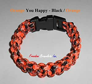 Sz 9 Paracord Bracelet - Orange You Happy - Black / Orange