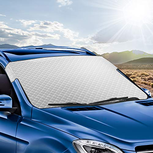 Car Windshield Sunshade, Tsumbay Car Sun Shade Car Snow Cover Auto Front Window Protector Visor Heat Shield Cover Foldable UV Ray Reflector for Car, Keeps Vehicle Cool, Fits Windshield of Various Size