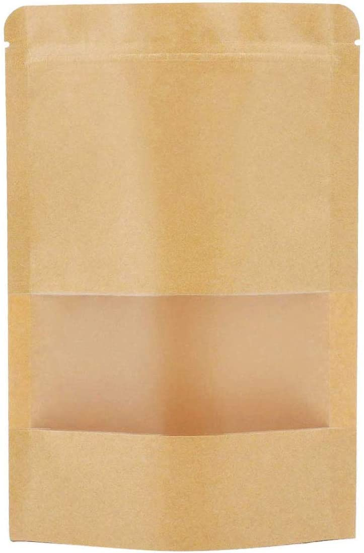 Sealable Bags,Kraft Stand up Pouches Zip Lock Coffee Bags with Window (Pack of 50) (50, 3.5