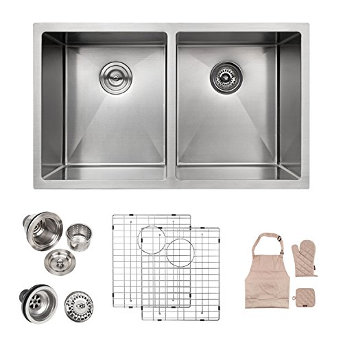 LORDEAR SLJ16001 Modern 32 Inch 16 Gauge 10 Inch Deep Handmade Stainless Steel Farmhouse Apron Front Drop In Undermount 50/50 Double Bowl Kitchen Sink, Sink Including Dish Grid and Basket Strainer ()