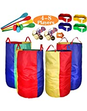 Outdoor Lawn Games Potato Sack Race Bags for Kids and Adults,with Egg and Spoon Race Games, 3-Legged Race Bands, Game Prizes, Outside Backyard Field Day Birthday Party Games for Kids and Family