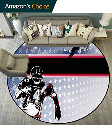 Americana Computer - Americana Computer Chair Floor Mat,Baseball American Football Player Running In The Field With The Stars Pattern Printed Round Carpet For Children Bedroom Play Tent Diameter-59 Inch,Multicolor