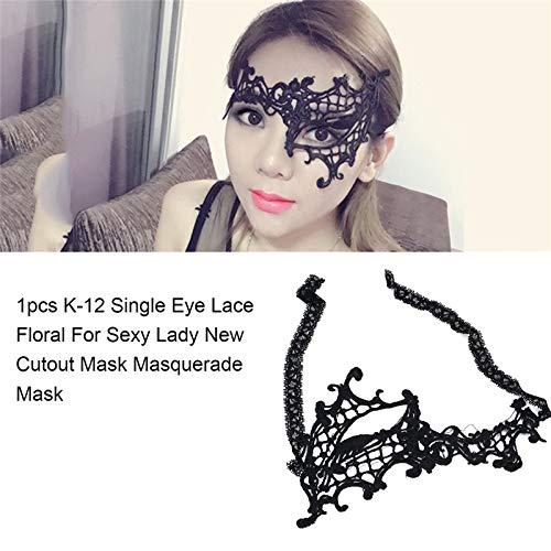 (Xligo Eye Mask Women Sexy Single Eye Lace Venetian Mask for Masquerade Ball Cosplay Masks Female Fancy Dress Costume P15)