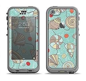 The Teal Vintage Seashell Pattern Apple iPhone 5C LifeProof Nuud Black Case and Skin Set (Black LifeProof Case Included!)